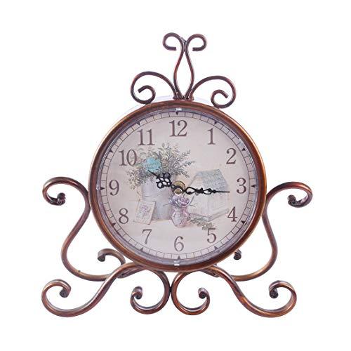 yywl Alarm Klok Unieke Europese Stijl Retro Bureau Klok Klassieke Iron Art Stille Tafel Alarm Klok Home Decor Royalty Zitkamer
