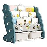 XQIAO Kinder Bücherregal,Spielzeugregal Mit 2 Spielzeug-Aufbewahrungsboxen,Kinder Aufbewahrungsregal, Kinderzimmerregal Für Kinderzimmer, Spielhalle, Kindergarten,Blue