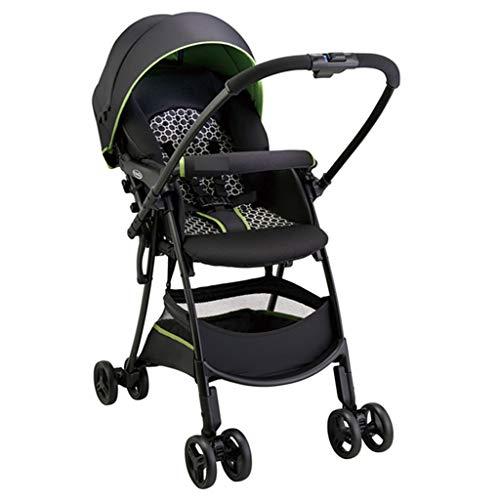 Cochecito de bebé cómodo y fácil de plegar, con paisaje alto, cochecito de dos vías que se puede sentar con respaldo (color: verde, tamaño: 102 x 79,5 x 45,5 cm)
