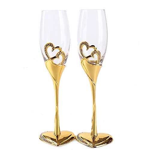 Juego de 2 copas de champán para boda, copas de vino, cóctel, vasos creativos y esmaltados moderno talla b