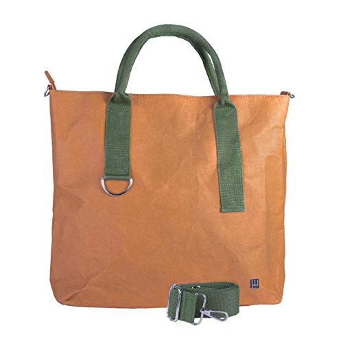 WOLA Damen Shopper Handtasche Papier 41x33cm ORIGAMI vegan grün