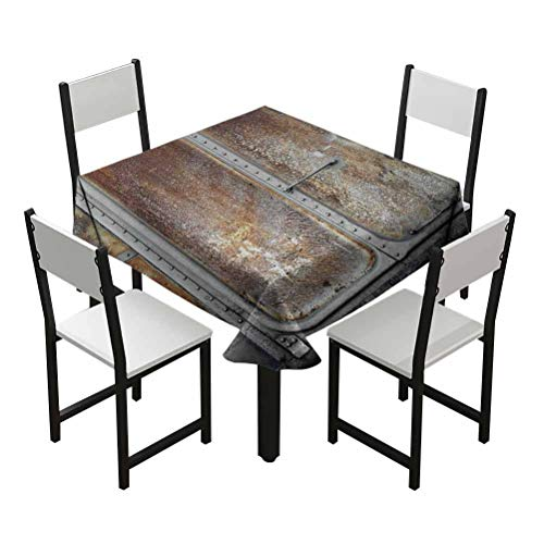 nooweihome Industrial Black Table Cloth for 6 ft Table Vintage Railway Container Door Old Locomotive Transportation Iron Power Design Best Gifts Teens W55 xL55 Grey Brown