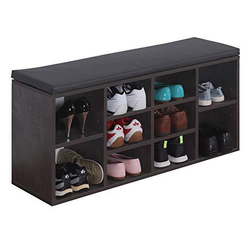 RICOO WM033-BG-A Schuhregal 104x49x30 cm Holz Beton-Grau Sitzbank mit Stauraum Schuhschrank mit Sitzkissen Schuhbank für den Flur Schuhablage