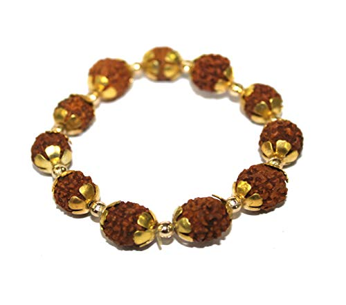 IndianStore4All 5 Mukhi Rudraksha Bracelet Spiritual Healing Stretch Bracelet To Regulate Blood Pressure and Body Fat