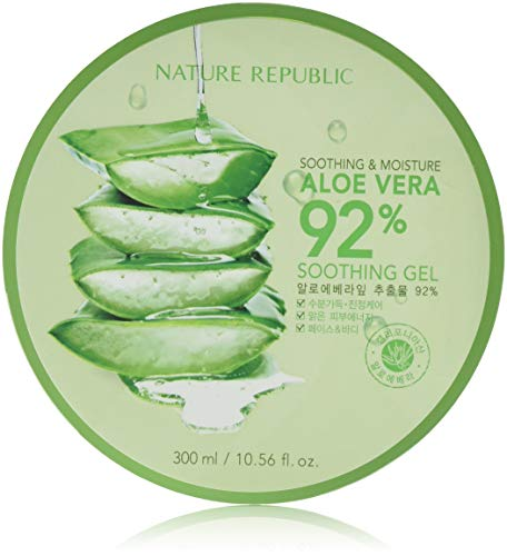 Nature Republic New Soothing Moisture Aloe Vera Gel 92 Percent 300 Milliliter Korean Cosmetics