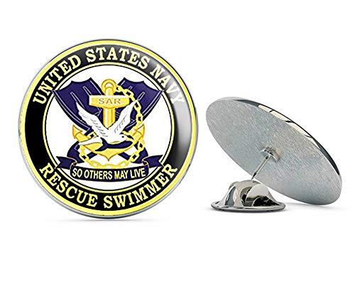 NYC Jewelers ラウンド ネイビー レスキュー スウィマー ソー その他 May Live (Naval air Logo) メタル 0.75インチ ラペルハット ピン タイタック ピンバック