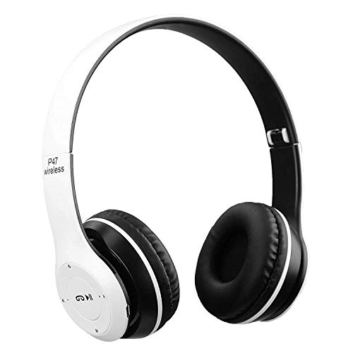 Rewy P47 Portable On- Ear Wireless Bluetooth V5.0 Headphone Wired & Wireless Feature Mic for Calling Also SD Card/FM Support Compatible with All Devices (White)