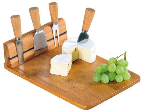 Kesper Käseschneidebrett Tabla para cortar queso con cubiertos, bambú, marrón