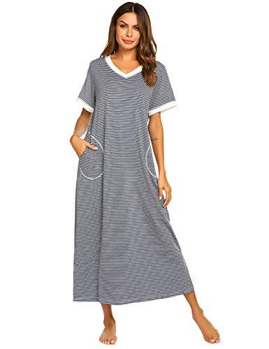 Ekouaer Long Nightgown Womens Housecoats with Pockets Nightshirt Sleepwear (Striped, XX-Large)