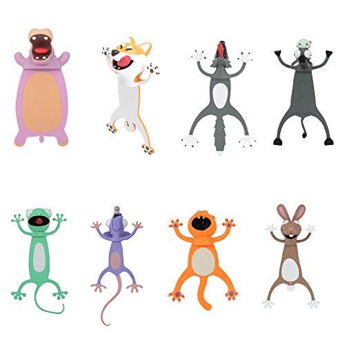 Tenflyer Bookmark, lesezeichen Kinder, lesezeichen, 3D Cartoon Animal Bookmark Set for Children Magnetisches Geschenk für Kinder, Mädchen, Jungen, Bücherlesen für Eltern-Kind-Zeit