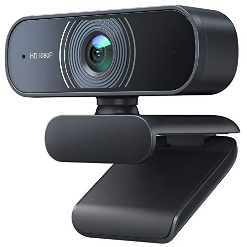 Victure Webcam per PC con Microfono, 1080P Full HD Videocamera per PC/ Desktop/ Laptop/ TV USB, Plug and Play per Lezioni, Lavoro Online, Conferenze, Registrazioni, Compatibile con Skype, Zoom
