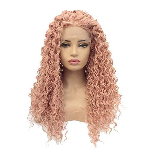 Ayhvia Pelucas Lace Front African Sexy Sintético Resistente Al Calor Natural Rosa Peluca Adecuada Para Uso Diario De Fiesta-18In
