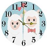 EZIOLY - Orologio da parete rotondo in alpaca a forma di coppia con scritta 'Love' in stile cartone animato e blu, 25 cm, silenzioso, al quarzo, a batteria, per casa, cucina, ufficio, scuola