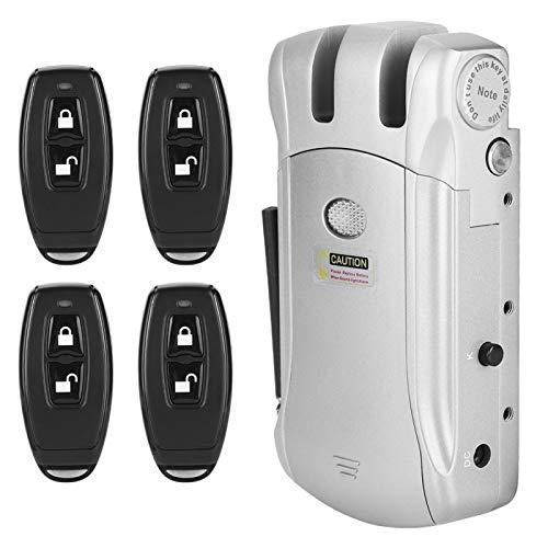 Kit serratura elettronica intelligente per porta, serratura elettronica con telecomando wireless invisibile senza chiave con 4 telecomandi per armadio da garage