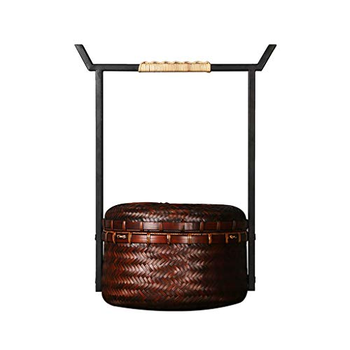 Chinesische Vintage Bambus Geflochtene Picknickkörbe Tee-Set Tragbare Picknickkörbe Lagerung Handtaschen Einkaufen Lagerung Picknickkörbe (Color : Brown, Größe : 8.66 * 14.17inchs)