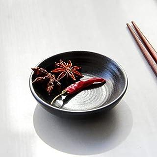 YASE-king Ceramic Sauce Plate_Black Simple Japanese Season Sauce Sauce Vinegar Sauce Potato Peanut Sauce 3 Inch Round Side...