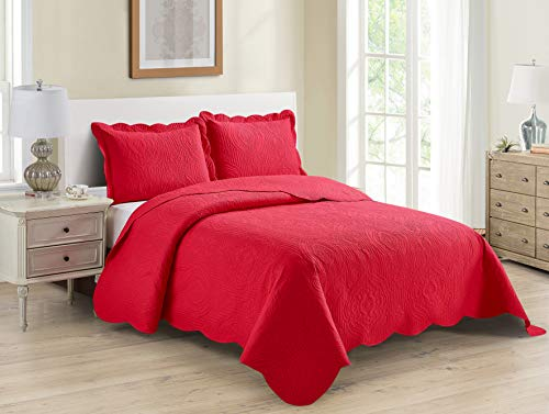 Better Home Style 3 Piece Luxury Ultrasonic Embossed Floral Design Solid Color Quilt Coverlet Bedspread Oversized Bed Cover Set # Mimi (Red, King/Cal-King)