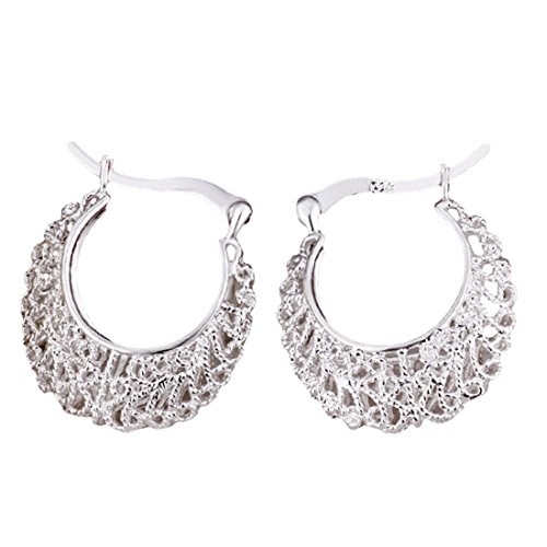 joyliveCY-Joyer¨ªa elegante moda, plata 925, eardrop esqueleto Weave Flor redonda