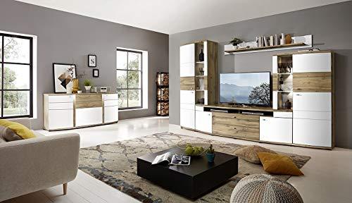 Froschkönig24 Terra Plus Wohnzimmer Set Wohnwand Komplettset Weiß/Eiche Altholz montiert