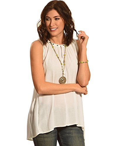 Allison Brittney Women's Sleeveless Notch Crew Neck Top with Gromets & Hi-lo Bottom, Beige, S