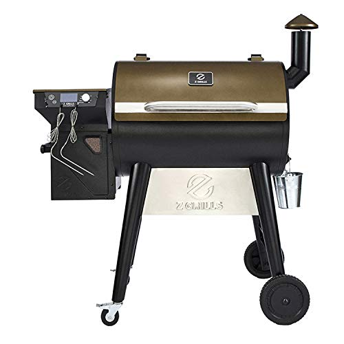 lowes bbq smokers Z GRILLS ZPG-7002F 8 in 1 Wood Pellet Portable Grill Smoker for Outdoor BBQ Cooking with Digital Temperature Control and Grill Cover, Bronze