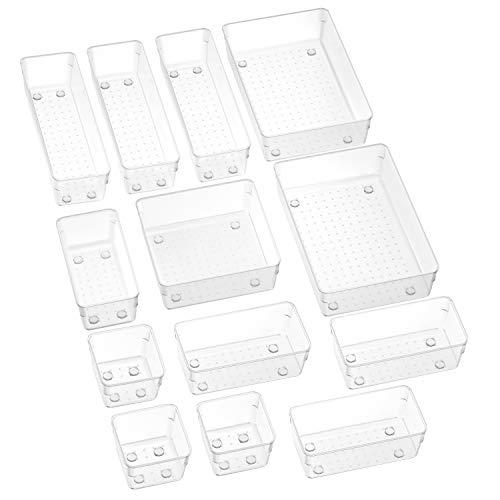 SMARTAKE 13-Piece Drawer Organizers with Non-Slip Silicone Pads, 5-Size Clear Desk Drawer Organizer Trays Storage Tray for Makeup, Jewelries, Utensils in Bedroom Dresser, Office and Kitchen