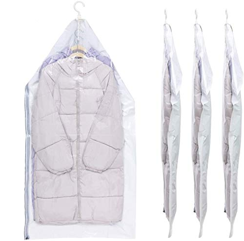 VELMADE Hanging Vacuum Storage Bags 4Long53x276IN Space Saver Compression Bags Protect Your Down Jackets Sweaters Suits Evening Dresses and Expensive Clothes Without Folding No Pump