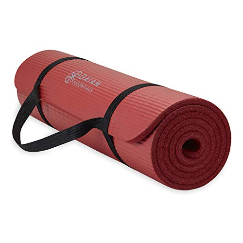 Gaiam Essentials Thick Yin Yoga Mat For Homw Workouts, Fitness & Exercise Mat with Easy-Cinch Yoga Mat Carrier Strap, 72