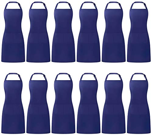 Puroma Adjustable Bib Apron Waterdrop Resistant with 2 Pockets, Unisex Cooking Kitchen Aprons for Chef Couple BBQ Painting (Blue, 12)