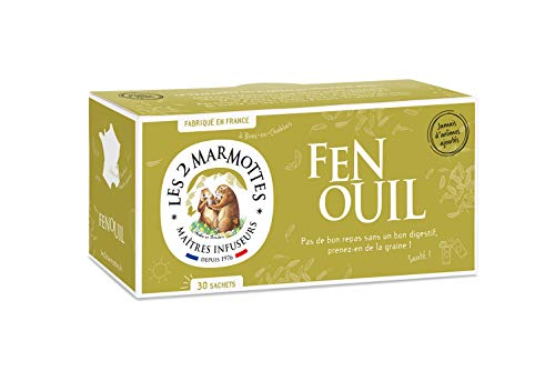 "Les 2 Marmottes - Infusion ""Fenouil"" 30 sachets - Fenouil - Made In France - Sans arômes ajoutés"