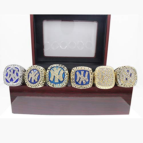 Herren Galvanisierter Zirkongrüner Zinklegierungsring, New York Yankees 6 Stück Baseball Weltmeisterschaft Replik Ring Set Boutique