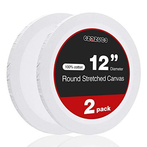 Ozazuco - Lienzo preestirado para pintura, 30,5 cm y 20,3 cm, 2 tableros redondos de lona, 12 pulgadas blanco en blanco, 100% algodón,...
