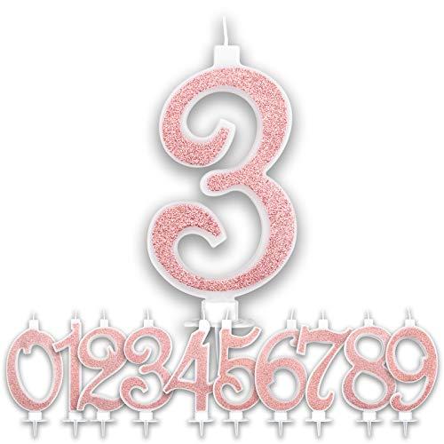 Candeline 3 Anni Grandi Compleanno Rosa Gold Glitter | Numeri brillanti per Torta Festa Birthday Bambina Ragazza Donna | Decorazioni Candele Topper Auguri Anniversario | Altezza 13 CM