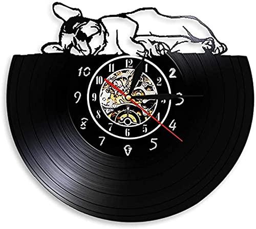 SHILLPS Buddy The French Orologio da Parete Realizzato in Vero Disco in Vinile Adorabile Bulldog Francese Addormentato Lampada calmante Animal Pet Shop Doggy Decor con LED
