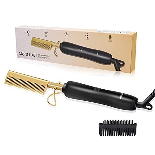 Monlida Peine Alisador Eléctrico 2 en 1, Peine Caliente para el Pelo Cepillo para Alisar el Cabello y Barba Temperatura Regulable