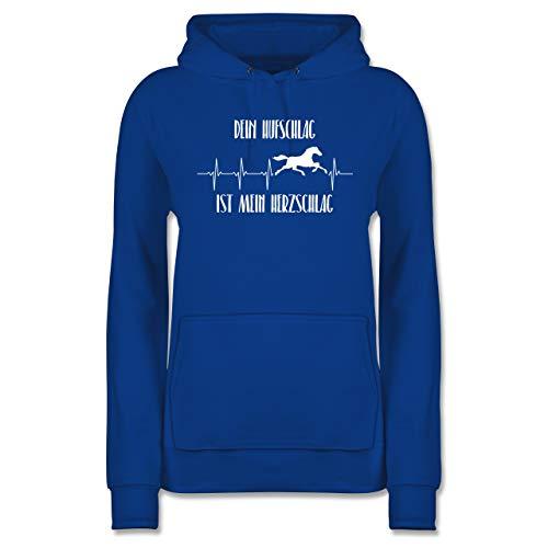 Pferde - Dein Hufschlag ist Mein Herzschlag - XS - Royalblau - REIT Pullover - JH001F - Damen Hoodie und Kapuzenpullover für Frauen