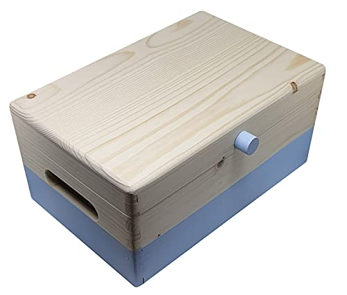 Caja de Madera para decoración y/o Almacenaje (30 x 20 x 14cm) con Tapa, asas y Tirador. Pequeños objetos: velas, juguetes, fotos. Color: Celeste, Base y tirador pintado