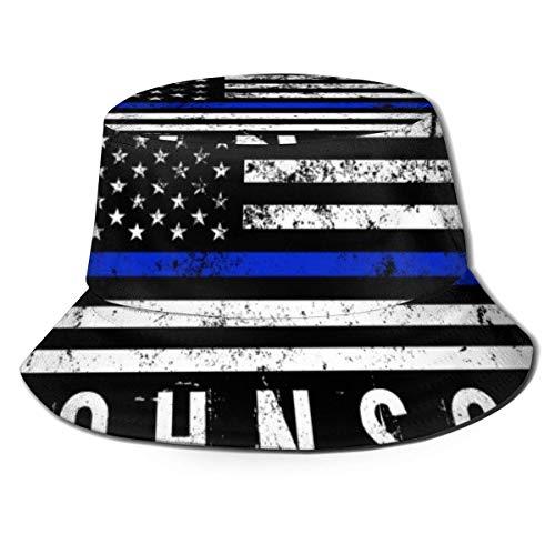 Yearinspace Policía con estilo de bandera americana nombre personalizado parte superior plana transpirable cubo sombreros viaje pescador sombrero unisex playa sol sombrero