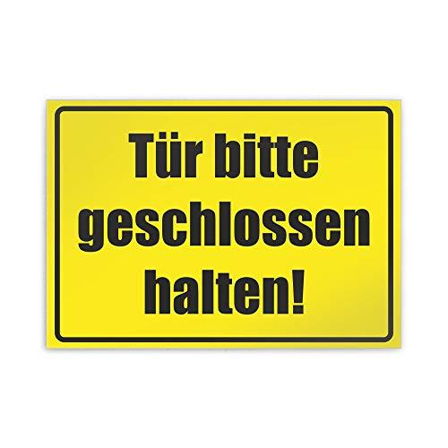 Kiwistar Tür Bitte geschlossen halten gelb Parkplatzschild Alu Verbund kein PVC! - 21 x 15cm