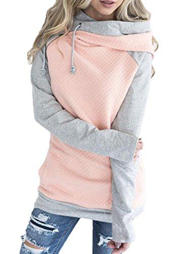 Woweal Damen Kontrastfarbe Pulli Pullover Rollkragen Sweatshirt Kapuzenpulli Top Hoodies, Rosa, 3XL