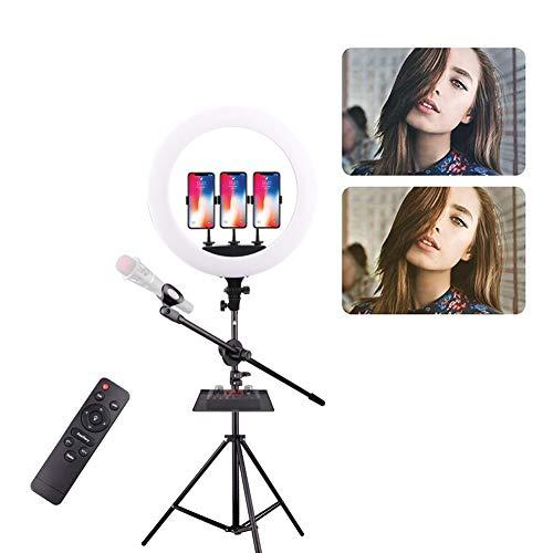 Ringlicht 23,6 inch / 60 cm Dimbare helderheid Tweekleurig 3200-5600K LED-ringlicht met standaard en zachte buis, draagtas voor camera, YouTube, vlog, make-up, portretfotografie