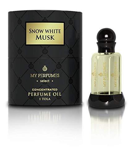 Aceite de Perfume Snow White Musk Attar Arabe 100% sin alcohol aceite de almizcle Halal para hombres y mujeres fragancia de larga duración Oud 12ML Nota: Rosa Iris Jazmín, Almizcle Tonka