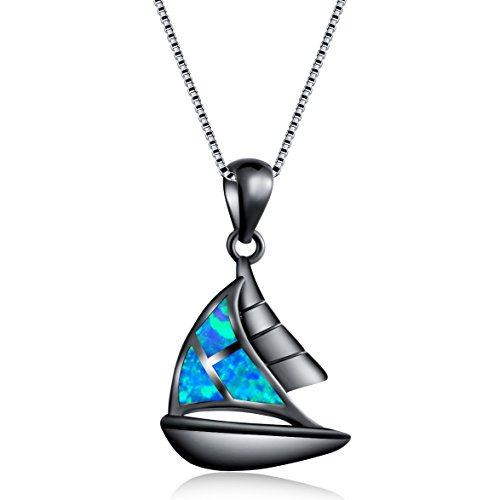 OMZBM Bunte Feueropal Halskette Erstellt Segelboot Hypoallergen Anhänger Schlüsselbein Kette Schmuck Überzug Gold Birthstone Geschenk,A