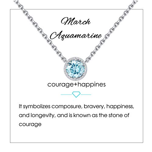 Qings Birthstone Necklace March Solitaire Necklace Simulated Diamond Necklace Heart Cut-Out Style Braided Necklace Aquamarine Necklace Gifts for Women Girls