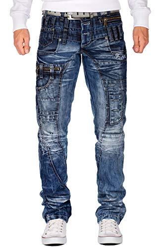 Kosmo Lupo Jeans blu da uomo dal design speciale Blu 31 W/32 L