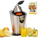 Nutrilovers Zitruspresse elektrisch Edelstahl CITRUS-PRESS Elektrische Saftpresse Orangenpresse Zitronenpresse elektrisch [300W] BPA-FREI   Inkl. Rezepte, to go Flasche, Orangen, Zitronen, Grapefruit