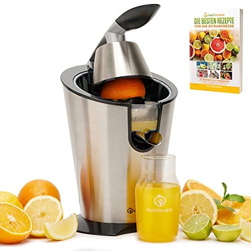 Nutrilovers CITRUS-PRESS Zitruspresse Orangenpresse Zitronenpresse elektrisch [300W] Edelstahl - 100% BPA-frei | Inkl. Rezepte, Glasflasche - Saftpresse Orangen, Zitronen, Grapefruit