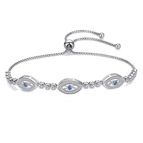 Pulsera de ojo malvado para mujer Lucky Hamsa 925 joyería de plata esterlina regalo pulsera de tenis de cristal de ojos azules redondos de lujo