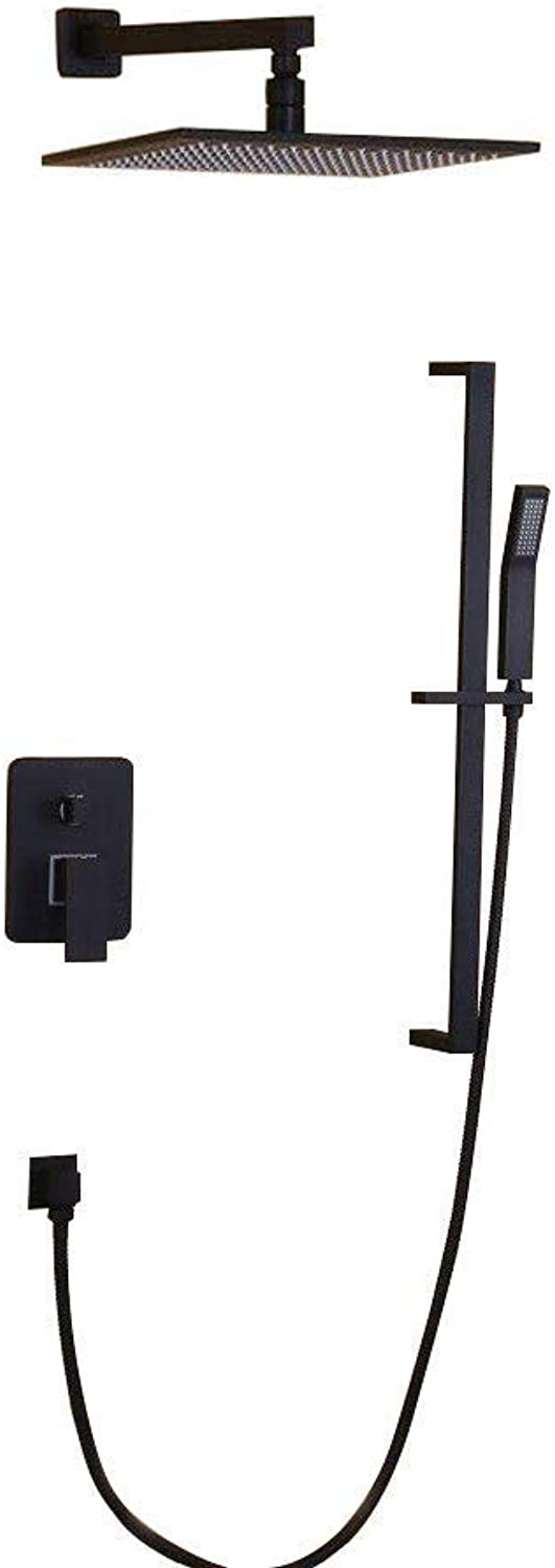 JiaYouJia 12  Wall-Mount Shower System with Slide Bar Hand Shower in Black, Certified By UPC