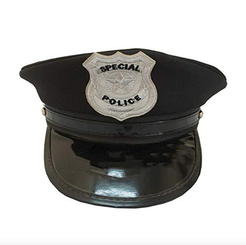 thematys Polizei Mütze Hut in schwarz - Police Cap für Erwachsene perfekt für Karneval, Halloween & Cosplay